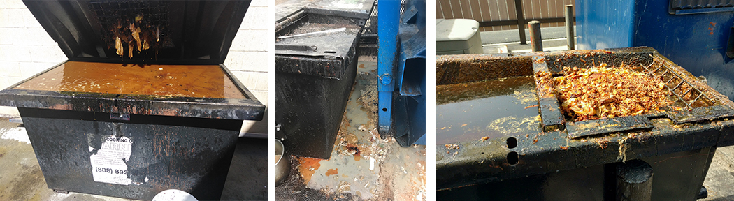 Messy outdoor grease bins