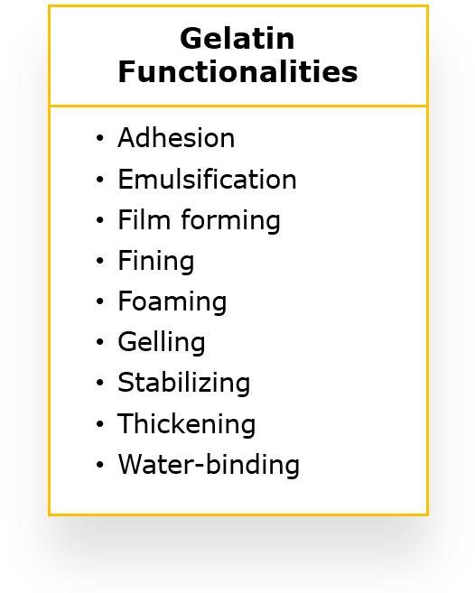 gelatin functionalities
