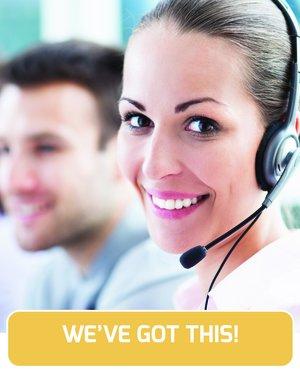 Customer service rep on phone
