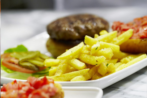Plate of fries with hamburger